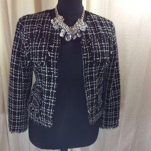 Plus Size Black&White Woven Blazer by George